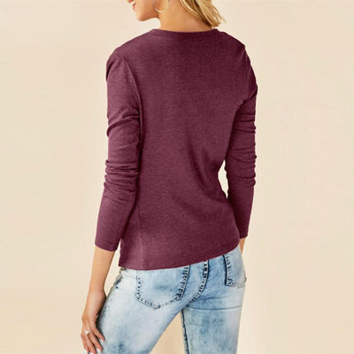 Round Neck Asymmetrical Pleated Long Sleeve T-Shirts