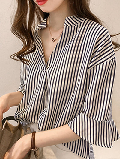 Spring Summer  Cotton  Women  V-Neck  Striped  Bell Sleeve  Half Sleeve Blouses