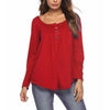 Round Neck Button Long Sleeve Plain Casual T-Shirts