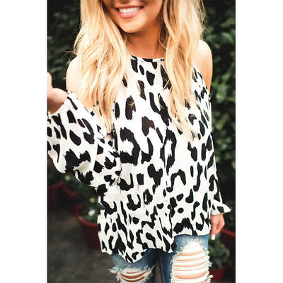 Sexy Round Neck Strapless  Printed Long Sleeve  T-Shirts