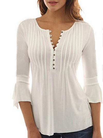 Flare Sleeve V Neck Pleated Tops