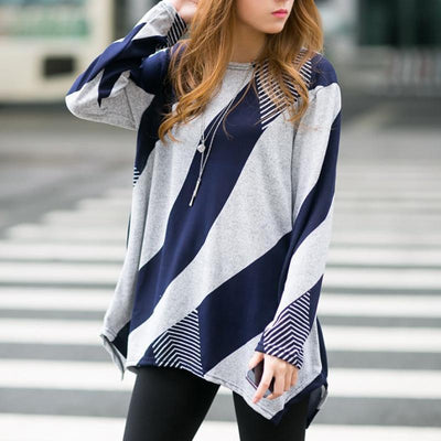 Round Neck Geometric Pattern Loose T-Shirt