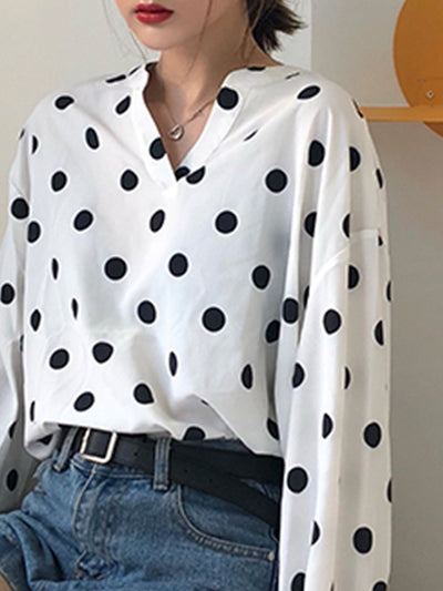 V Neck  Dot Blouses