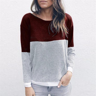 Round Neck Cross Hollow Out V Neck Color Block Two Way Knitting Sweaters