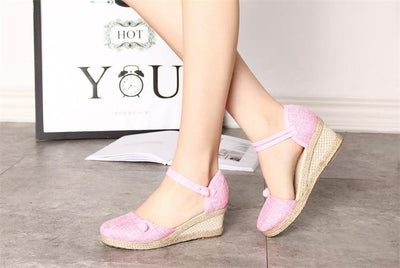 Women's Sandals Wedges Casual Comfort Foreign Trade Tip Hemp Buckle Female Sandals