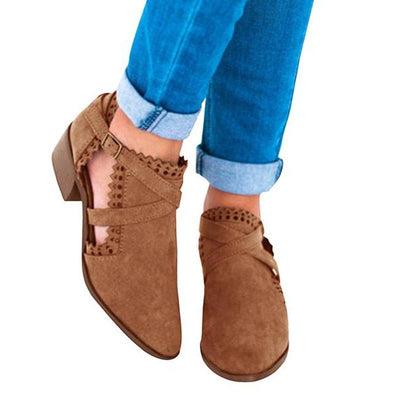 Autumn Suede Carved Rhinestone High Heel Stylish Short Boots