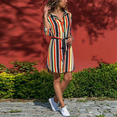Striped Printed Lapel Lace Up Casual Dress