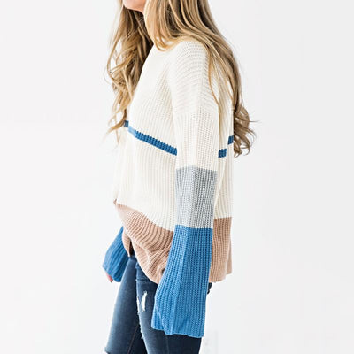 Fashion Color Block Long Sleeve Knitting Sweaters