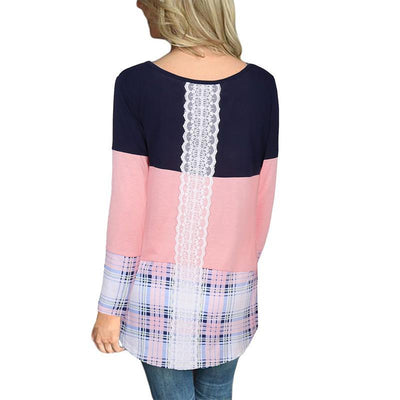 Round Neck Color Block Patchwork Lace Long Sleeve T-Shirts