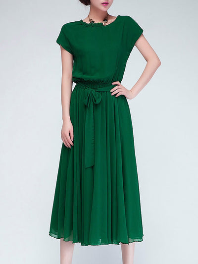 Elegant Chiffon Short Sleeve Dress with Belt
