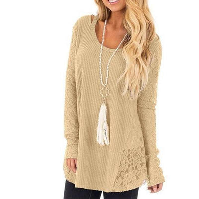 Round Neck Lace Patchwork Hollow Out Knitted Sweaters