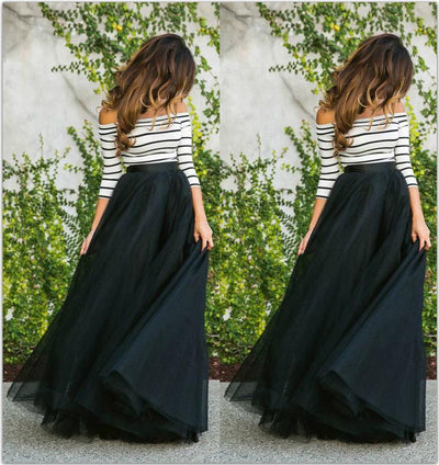 Fashion Cutaway Collar Striped Evening Dress