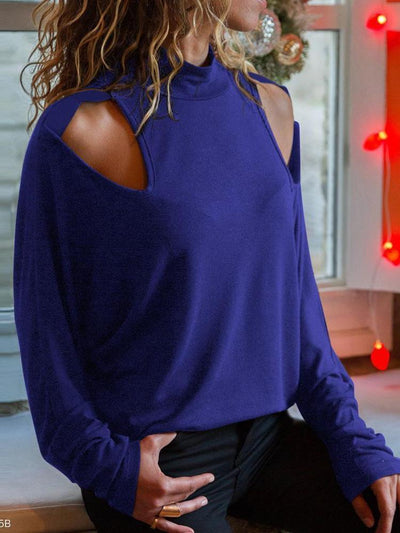 Sexy Round Collar Off Shoulder Plain Shirt