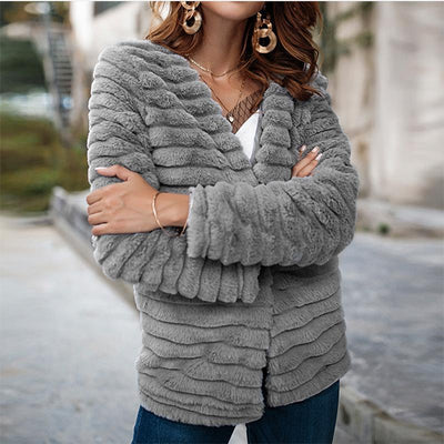 Faux Rabbit Fur Woman Fashion Coat