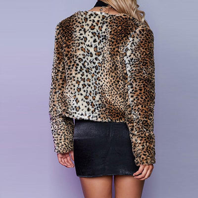 Round Neck Long Sleeve Sexy Leopard Fur Jackets