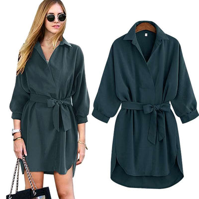 Fashion Loose Lapel Three quarter sleeve Lacing Skater Dresses