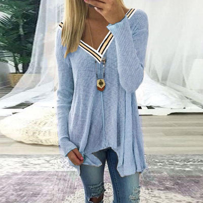Stitching A Sexy V-Neck Irregular Knitted Sweater