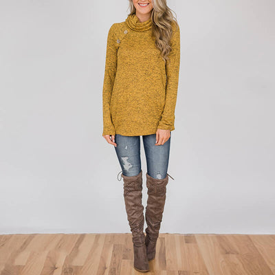 Turtle Neck Long Sleeve Button Sweatshirts