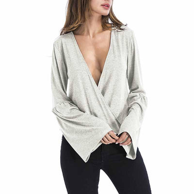 Sexy Deep V Neck Long Sleeve Cross Style Sweater