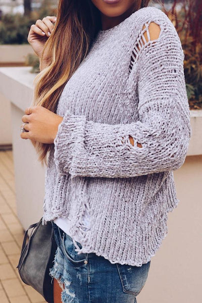 Round Neck  Cutout  Plain  Bell Sleeve Sweaters