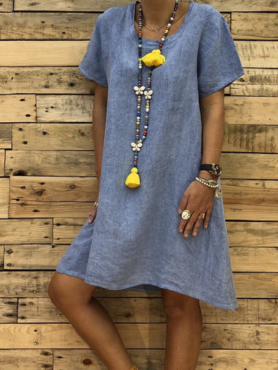 Round Neck Short Sleeve Plain Casual Shift Dress