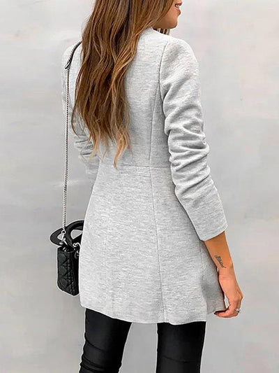 Elegant Pure slim wool stand up collar coats