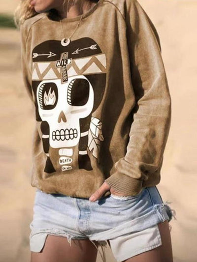 Loose long sleeve printed sweatshirts