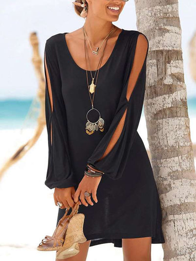 Round Neck Casual Off Shoulder Long Sleeve Vacation Dresses