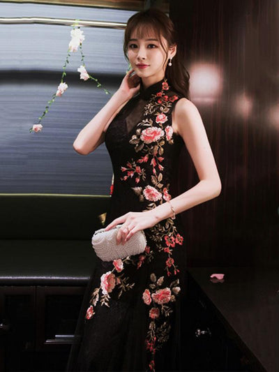 Embroidered Mermaid Cheongsam Evening Dress
