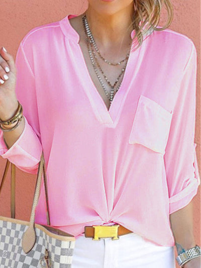 V Neck Plain Pocket Roll-Up Sleeve Blouses With Pockaet