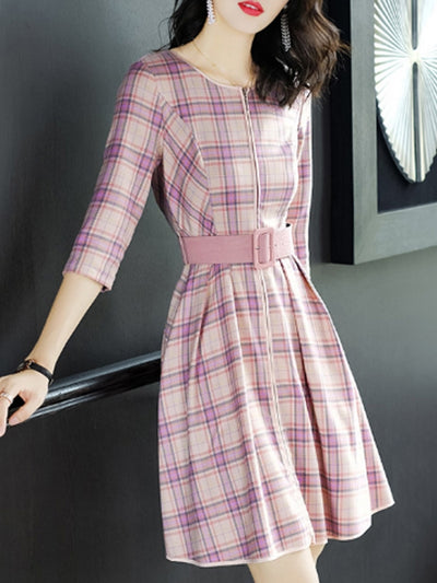 Contrast Plaids O-Neck Half Sleeves Midi A-Line Shift Dresses