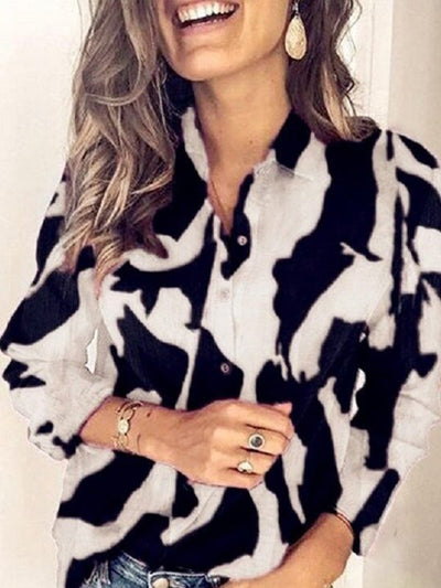 Women plus size fashion printed turn down neck long sleeve Blouses