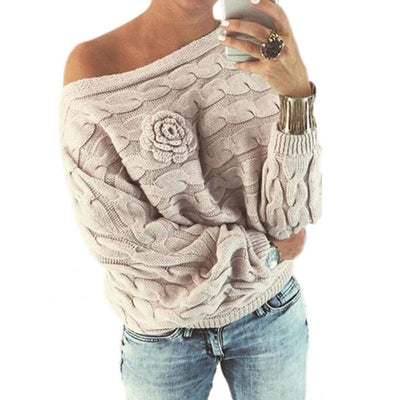 One Shoulder  Batwing Sleeve Sweaters
