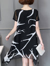 Asymmetrical Stripes Printed Plus Size Chiffon Dress