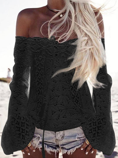 White Off Shoulder Horn Sleeve Lace Blouse