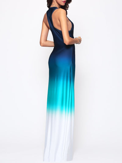 Gradient Chic Round Neck Maxi-Dress