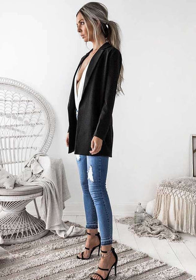Fashion Pure Lapel Long sleeve Tee Blazer