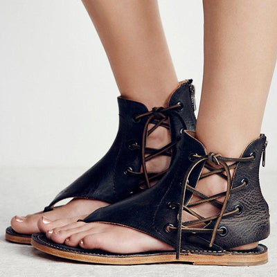 Plus Size Lace-up PU Sandals with Zippers