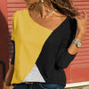 Plus Size Stitching Color Matching Round Collar Long Sleeve Casual T-shirt