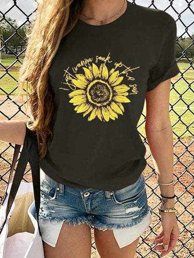 Women casual flower printed short sleeve T-shirts