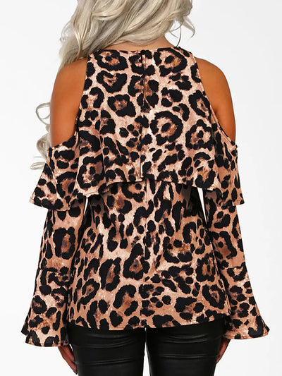 Animal Print Leopard Print Off Shoulder Woman Fashion Blouse