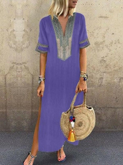 Bohemia Printed V Neck Casual Maxi Dresses