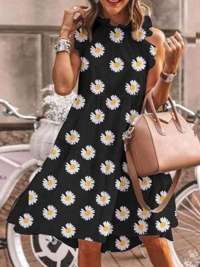 Holiday printed sexy round neck hot style sleeveless maxi dresses for women