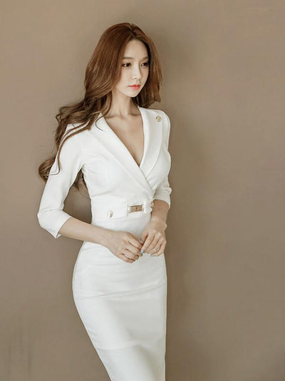 Sexy White Lapel Neck Long Sleeve Belted Slim Fit Tea Length Dress