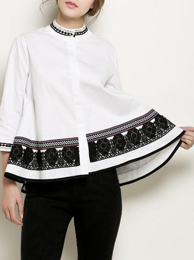 Embroidered Floral Casual Stand Collar Beaded Blouse