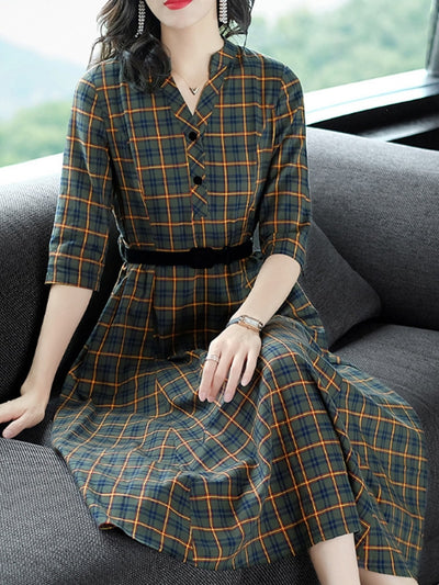 Printing Plaids V-Neck Seven-Tenths Sleeves Maxi Dresses For Woman