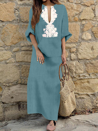 Woman Cotton Linen Long Sleeve Solid Loose V Neck Boho Long Dress Casual Dress Maxi Dress