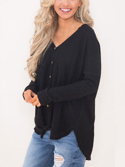 V Neck Button Tie Autumn Long Sleeve Sweater