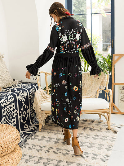 Autumn Super Embroider Black Fashion Long Sleeve Maxi Dress