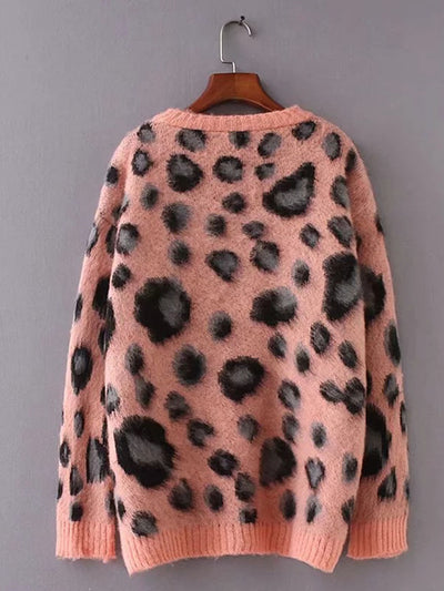 Pink Leopard Print Style Long Sleeve Woman Sweater